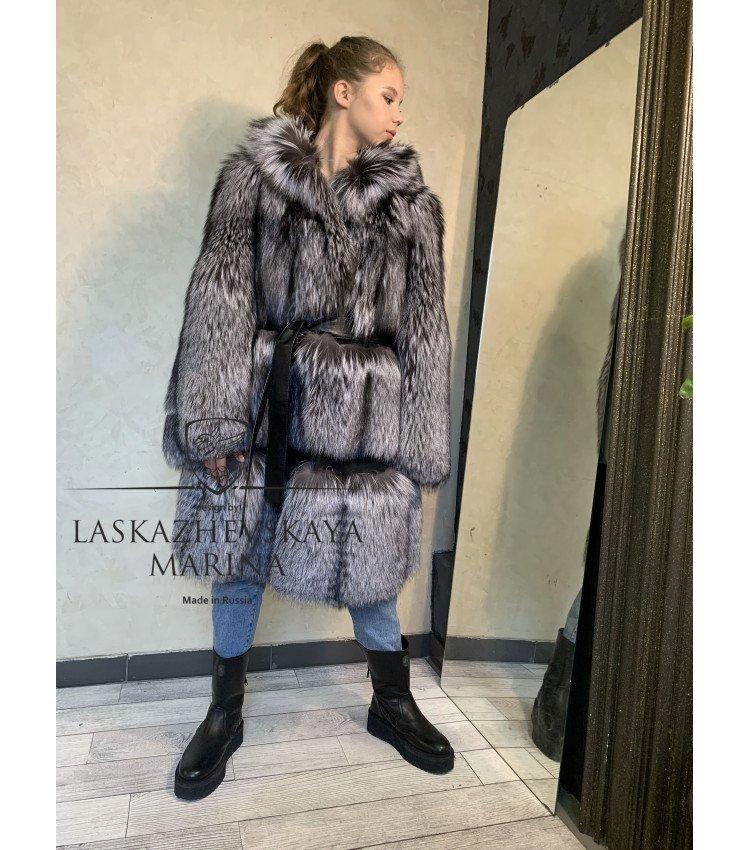 """Шуба из лисы чернобурки """"Платье"""""""