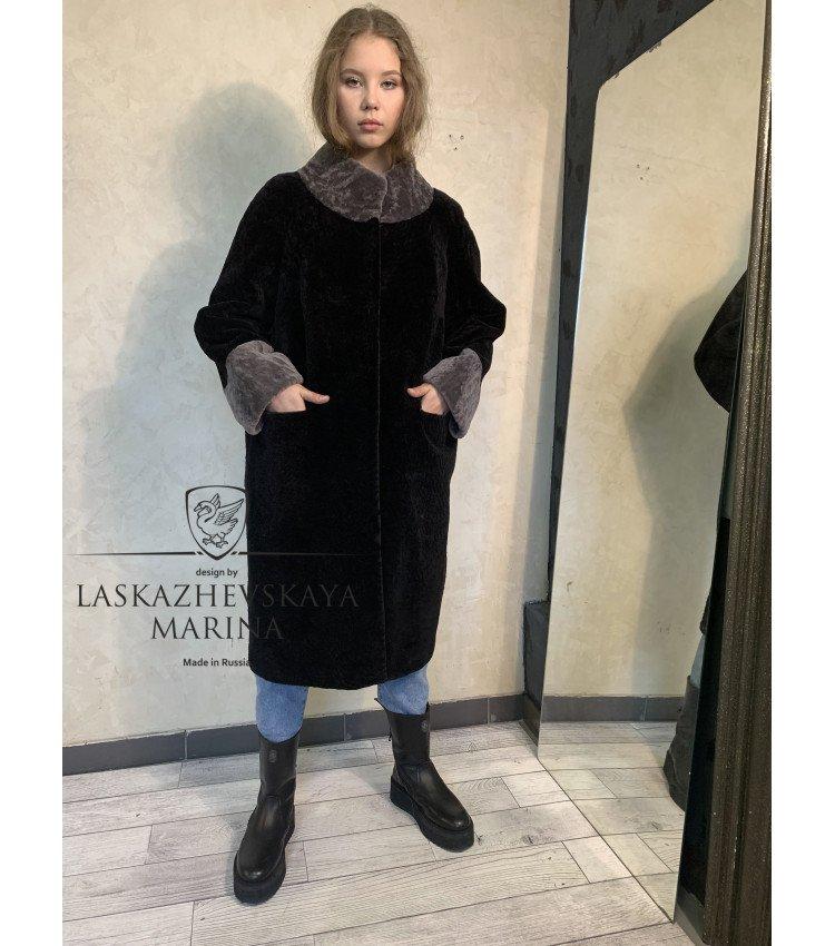 """Шуба из овчины астраган """"Стрекоза"""" воротник стойка"""