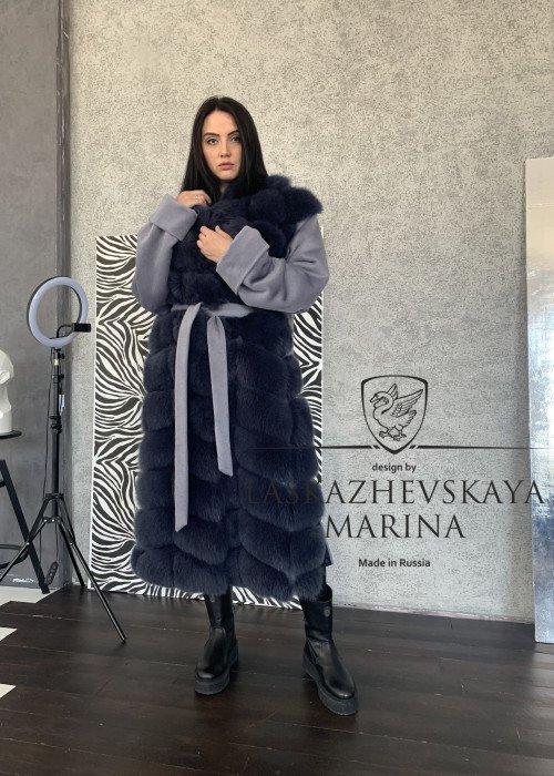 Пальто из итальянского кашемира и песца
